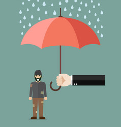 hand holding an umbrella protecting poor man vector image