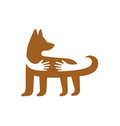 Hands hugging dog logo template pet shop or vector