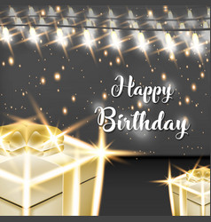Happy birthday design with lamp and gold gift vector