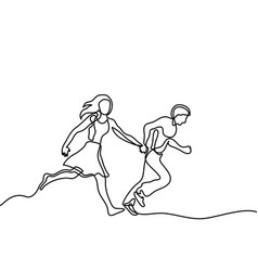 happy running couple vector image