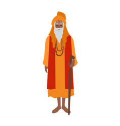 indian guru wearing turban and traditional clothes vector image