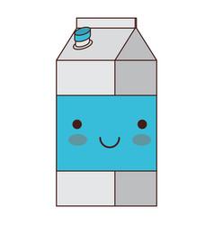 kawaii milk carton in colorful silhouette vector image vector image