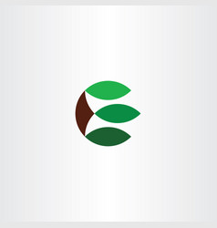 letter e simple leaves plant ecology logo icon vector image