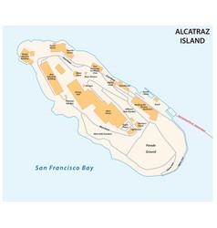 Map californias former prison island alcatraz vector