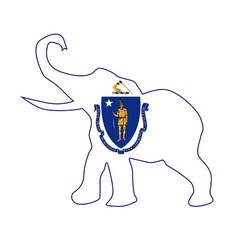 Massachusetts republican elephant flag vector
