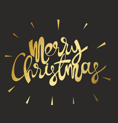 merry christmas gold inscription on a black vector image