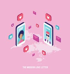 modern love letter people messaging on st vector image