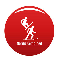 Nordic combined icon red vector