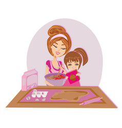 Of mother and kid preparing dough vector