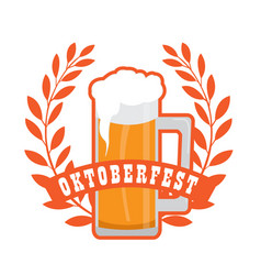 oktoberfest label with beer icons vector image