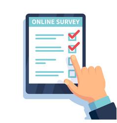 online survey internet surveying hands holding vector image