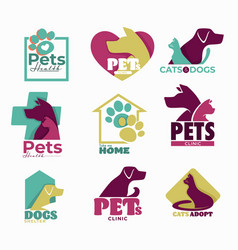 pets clinic and shelter isolated icons dog and cat vector image