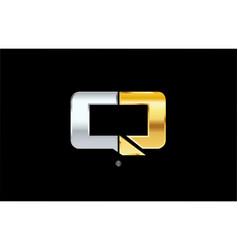 Q silver gold letter alphabet logo icon design vector