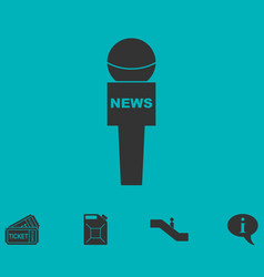 Reporter microphone icon flat vector