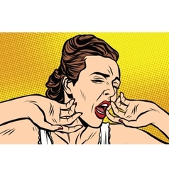 Retro woman yawning in the morning vector