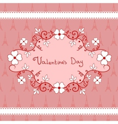 Romantic vignette with flowers Valentines Day vector image