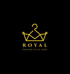 Royal king fashion simple line logo template vector