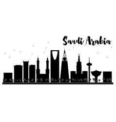 saudi arabia skyline black and white silhouette vector image