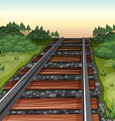 Scene with railroad in the field vector