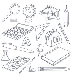 school doodle set of stationery tools vector image