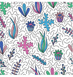 Seamless pattern with cute seaweeds vector