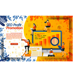 seo to maximize online promotion seek profit by vector image