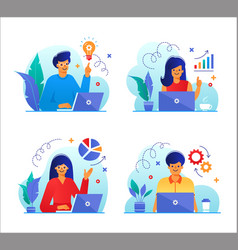 Set business people with laptops in flat design vector