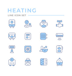 Set color line icons heating vector