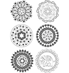 Set of ethnic patterns and mandalas vector