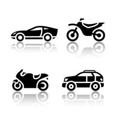 Set of transport icons - sports transportation vector
