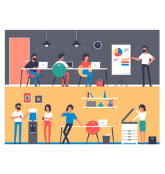 set of workers characters in office interior vector image