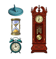 Set old clocks sundial hourglass alarm clock vector