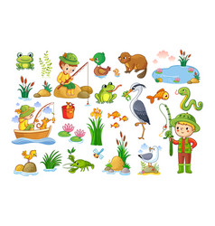 set on a forest children theme vector image
