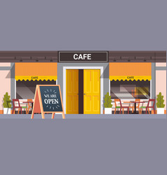 street cafe facade with we are open board urban vector image