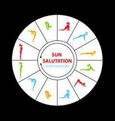 sun salutation yoga asana vector image