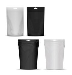 The layout of the bag doy pack black and white vector