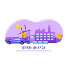 Urban green energy concept using wind turbines vector