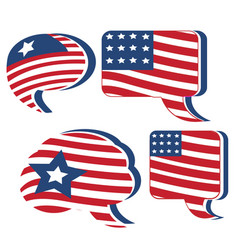 Usa flag speech bubble set vector