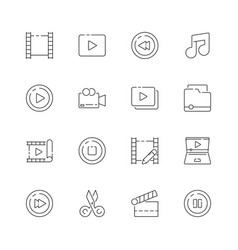 video editing icon film movie production symbols vector image