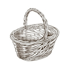 Vintage Basket In Woodcut Style vector