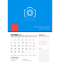 wall calendar planner template for october 2019 vector image