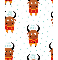 winter pattern with cute ox vector image