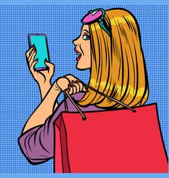 woman buyer online sale vector image