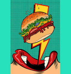 Woman eating burger pop art style female mouth vector