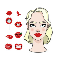 woman sexy makeup red lips set vector image