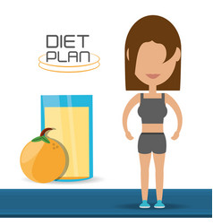 woman with healthy listyle to diet plan vector image