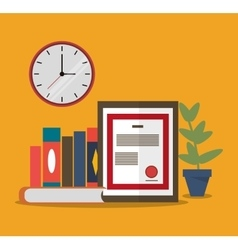Worktime desk office supply design vector