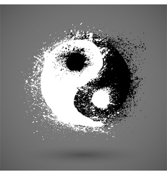 Yin Yang symbol in grunge style vector image