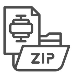 zip folder line icon archiving folder vector image