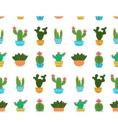 Cactus flat design seamless pattern vector image vector image